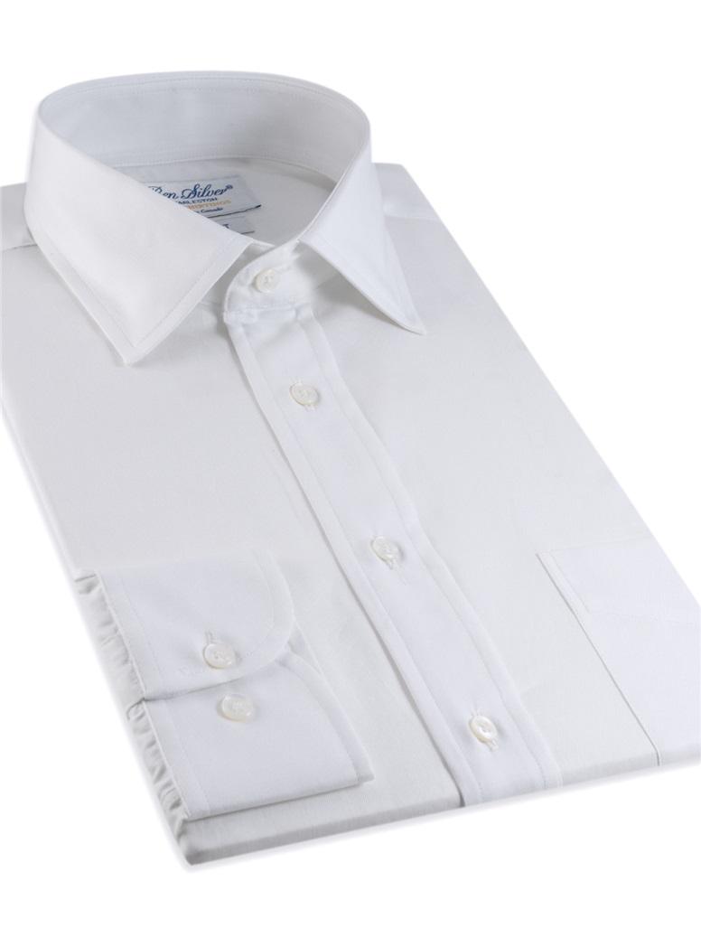 Classic White Twill Spread Collar in Trim Fit