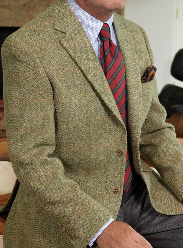 Soft Green Melange Wool Tweed Sport Coat