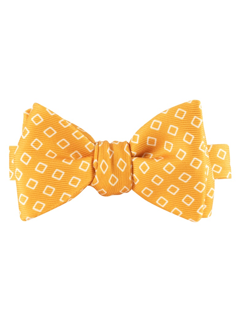 Silk Diamond Motif Bow Tie in Marigold