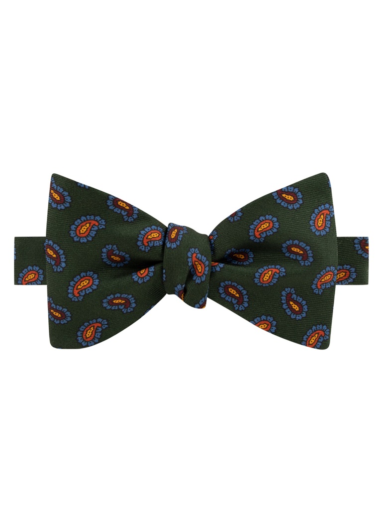 Silk Paisley Printed Bow Tie in Forest
