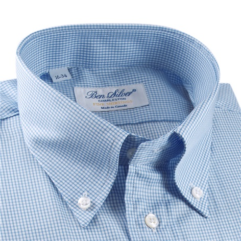 White and Blue Small Grid Twill Button Down