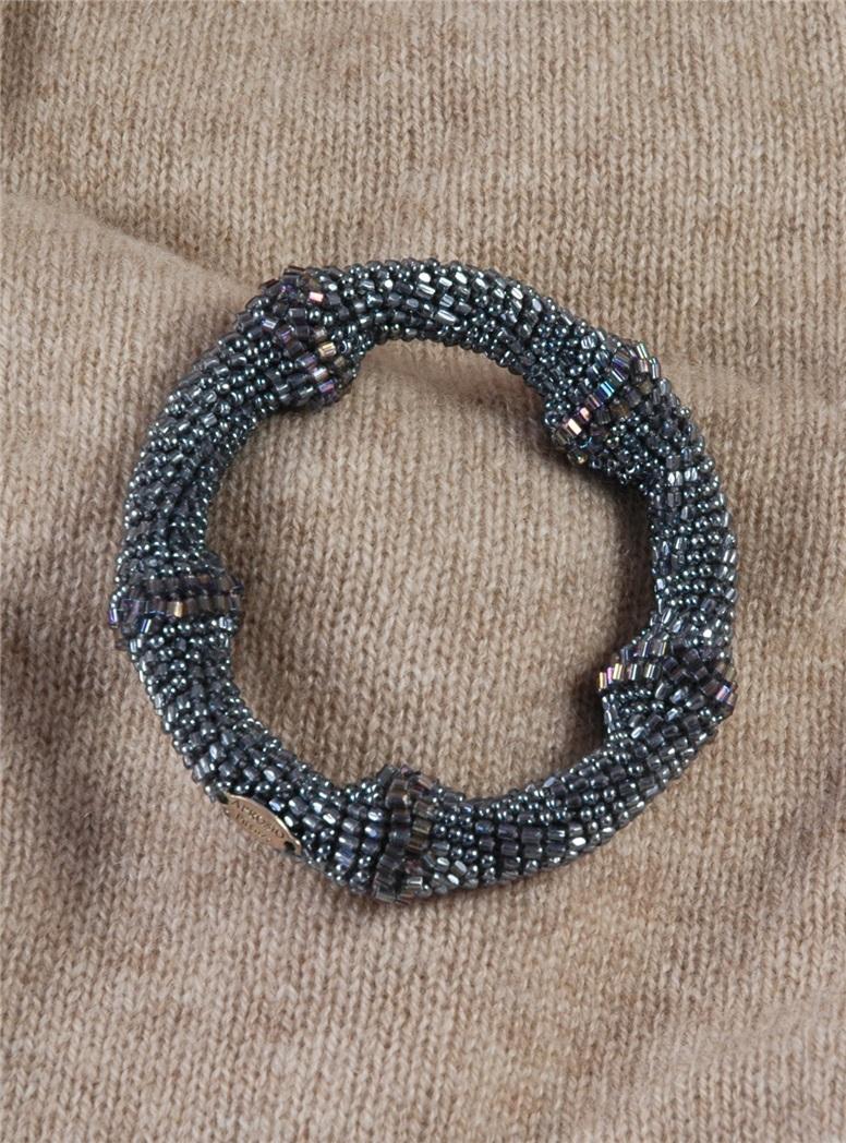"""Crocheted """"Bamboo"""" Bracelet in Silver"""
