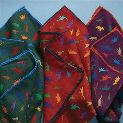 Wool and Silk Dinosaur Print Pocket Squares