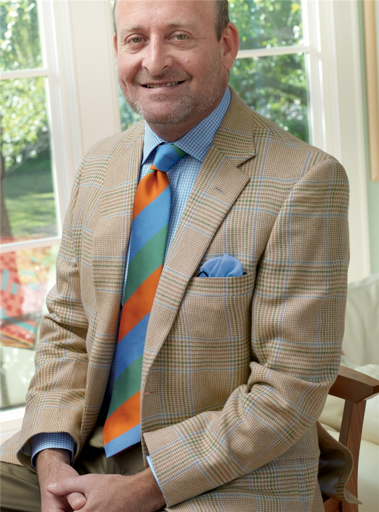 Cream Glen Plaid Sport Coat with Sable and Sky