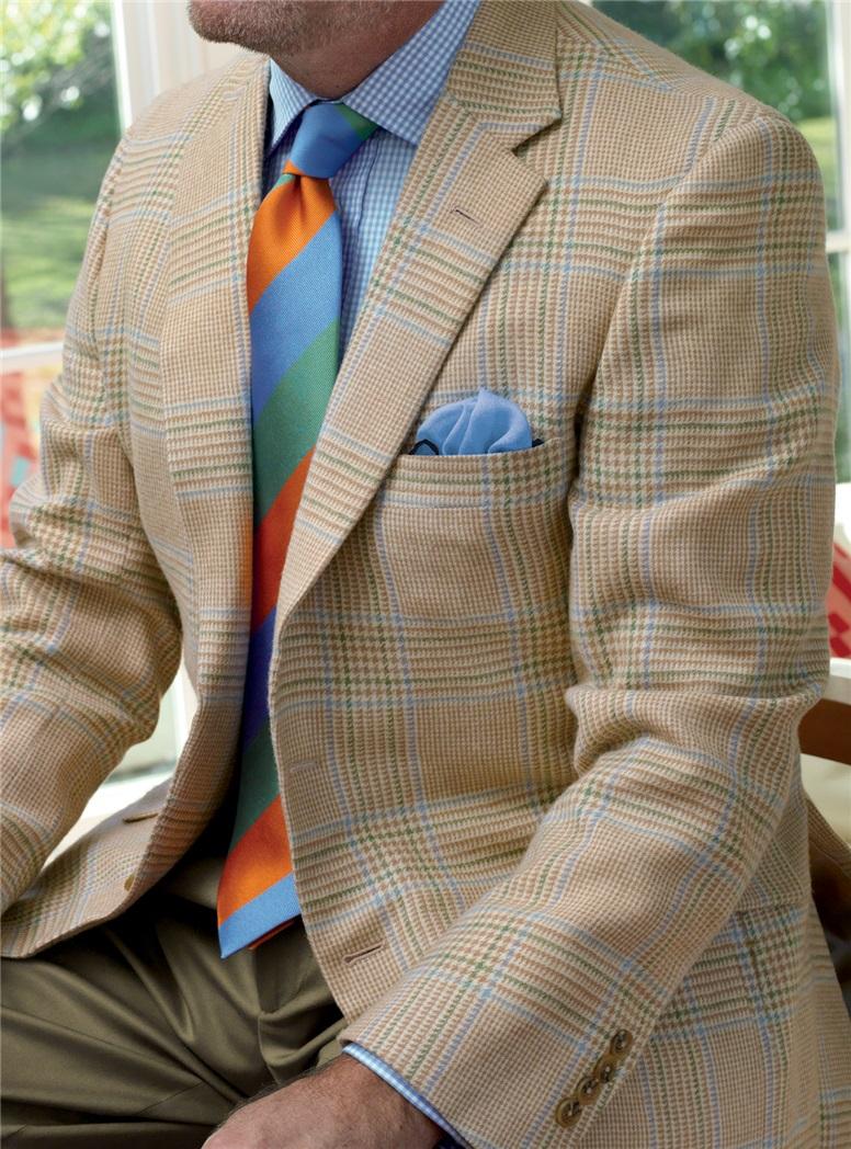 Cream Glen Plaid Camelhair Sport Coat