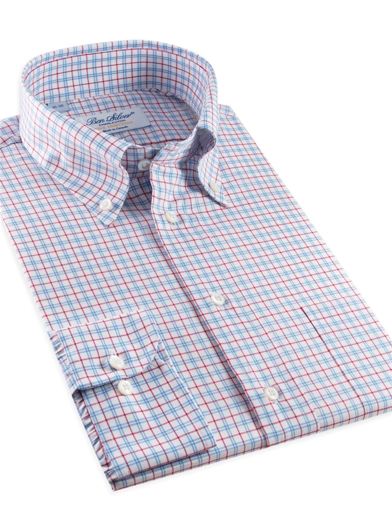 Red & Blue Large Graph Check Button Down