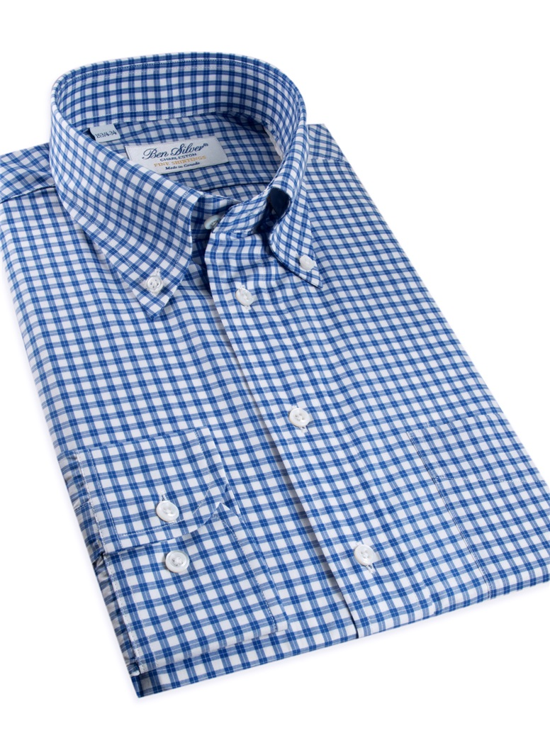 White and Royal Graph Check Button Down