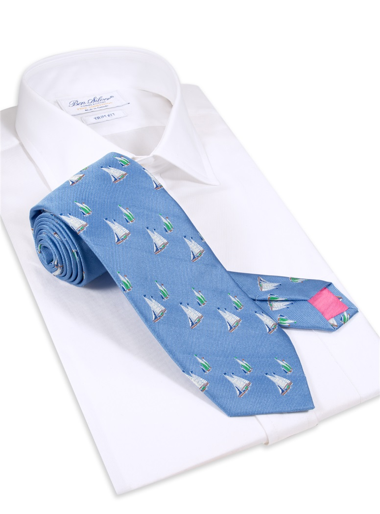 Jacquard Woven Sailboat Tie in Sky