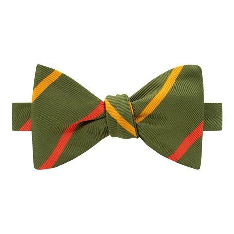Mogador Double Bar Striped Bow Tie in Fern