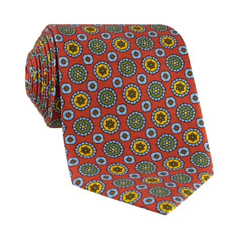 Silk Neat Print Tie in Chilli