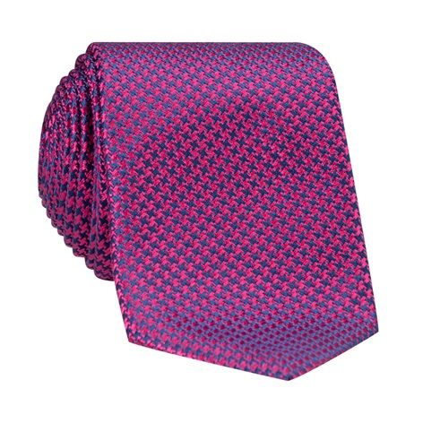 Silk Basketweave Tie in Azalea and Navy