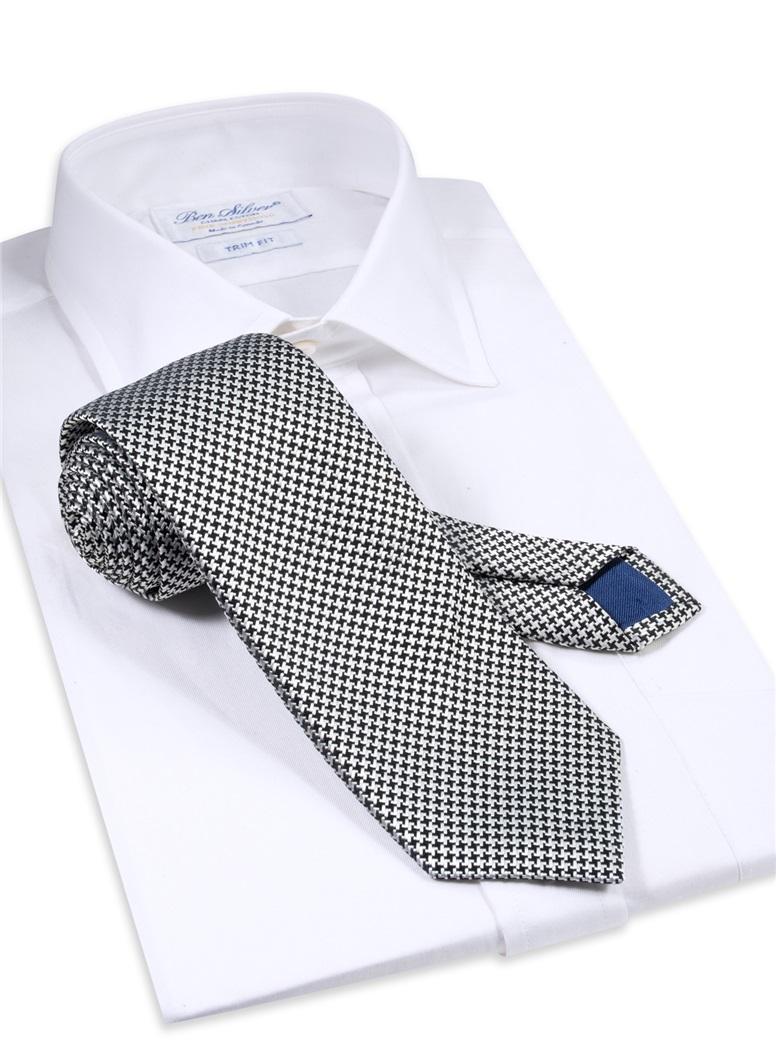 Silk Basketweave Tie in Black and Silver