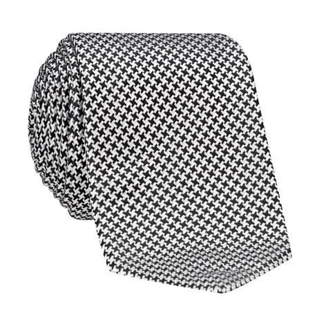 Silk Basketweave Tie in Black and Silver