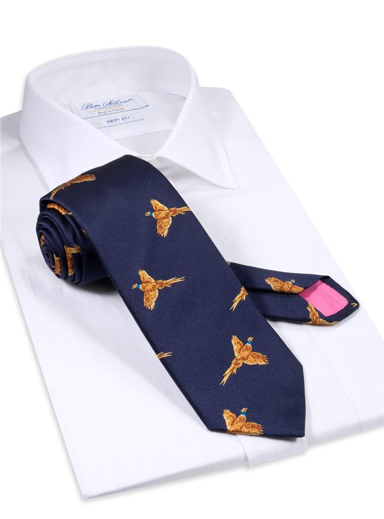 Silk Woven Pheasant Tie in Navy