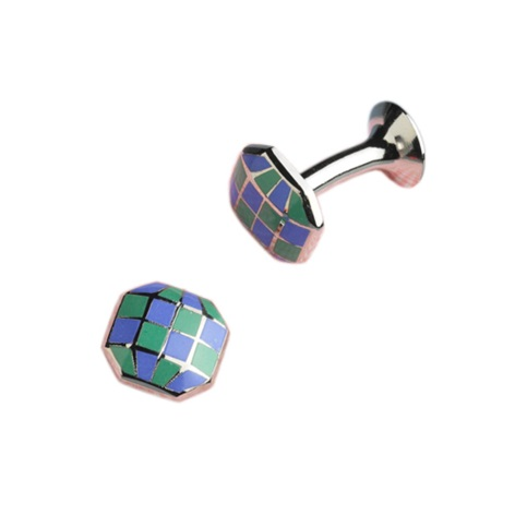 Raised Octagon-shaped Cufflinks in Blue and Green Checkerboard