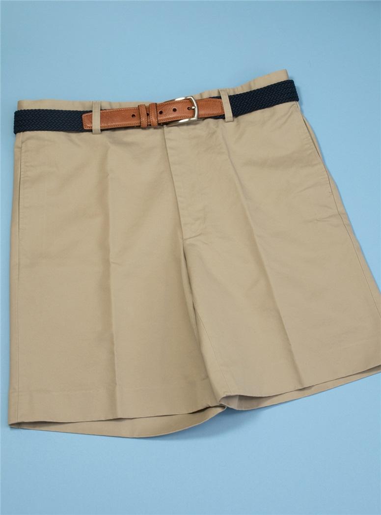 Khaki Washed Cotton Shorts in Plain Front