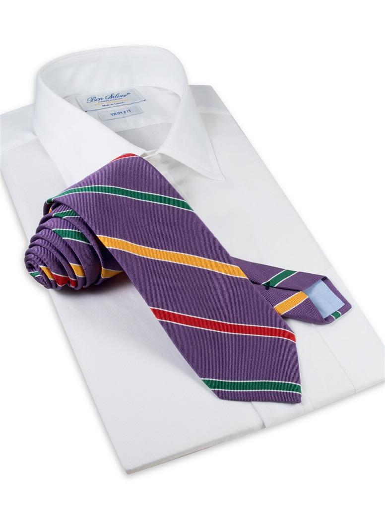 Silk Multi-Stripe Tie in Purple