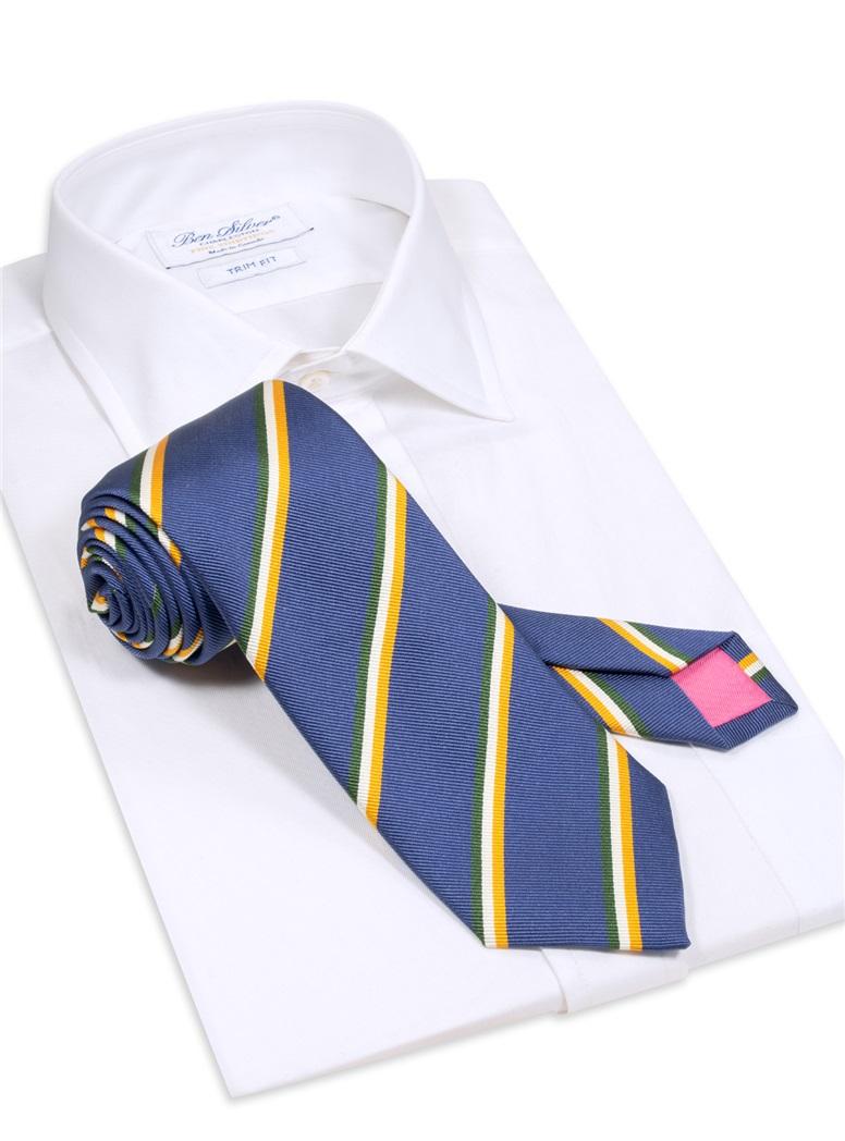 Silk Triple Stripe Tie in Royal