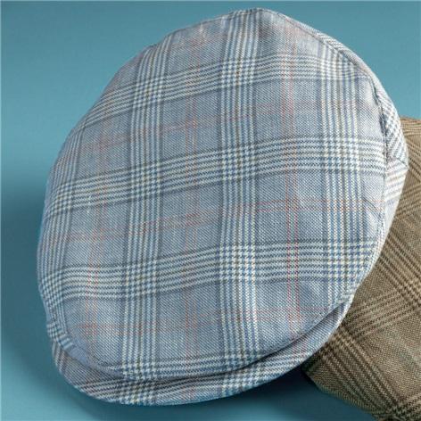 Wool and Linen Helmsley Cap in Dusty Blue Glen Plaid