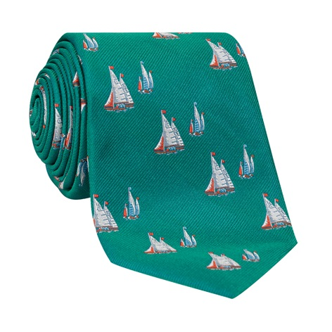 Jacquard Woven Sailboat Tie in Teal