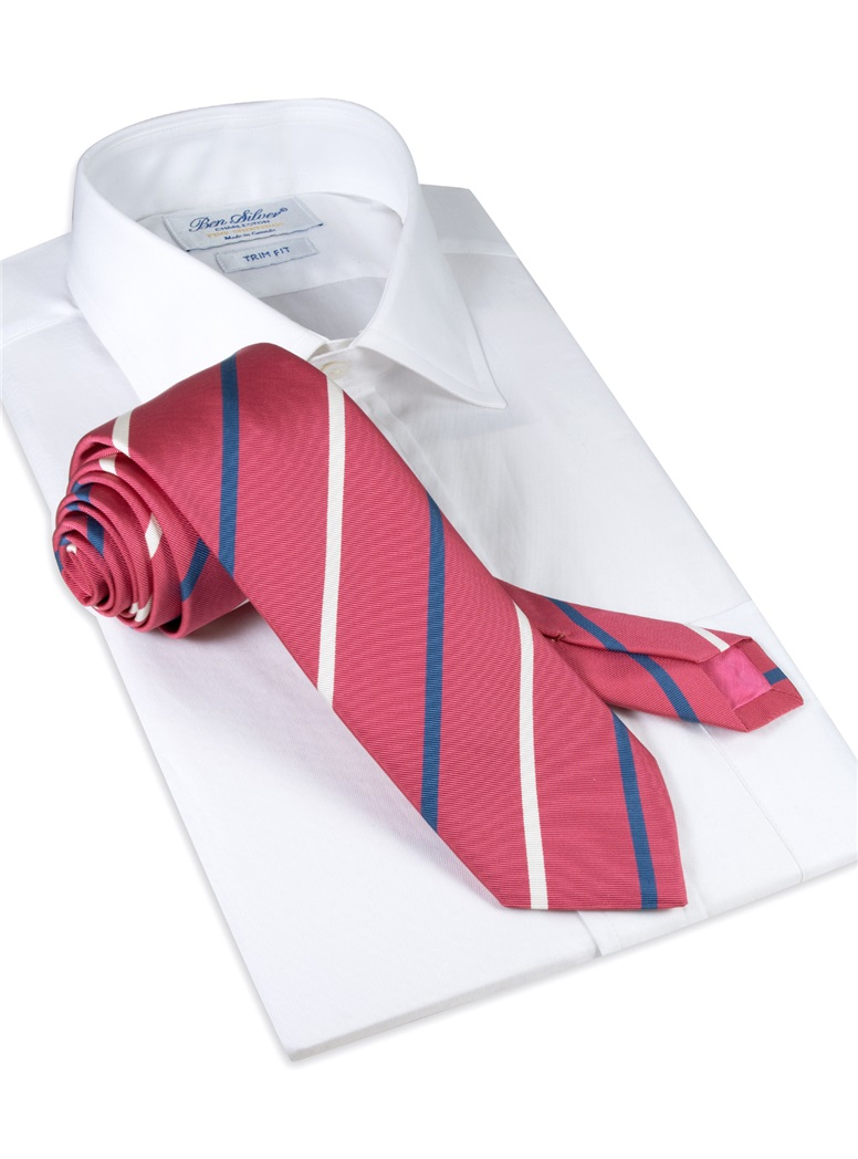 Mogador Double Striped Tie in Azalea