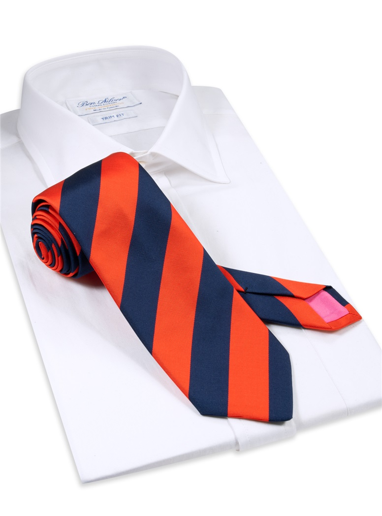 Mogador Block Striped Tie in Tangerine and Navy