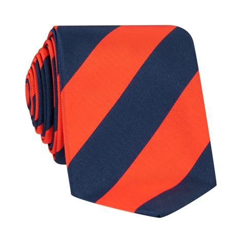 Mogador Block Striped Tie in Tangerine and Navy