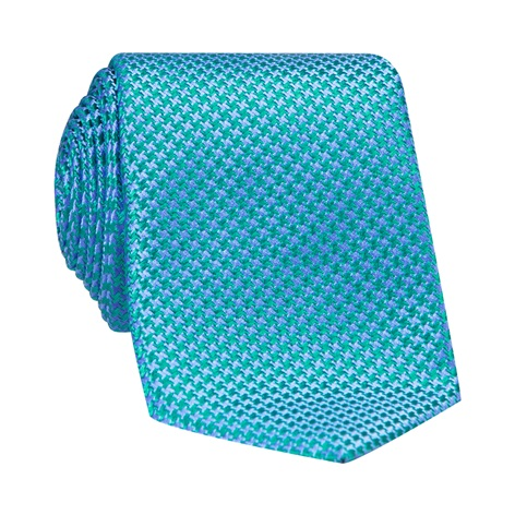 Silk Basketweave Tie in Azure and Fern