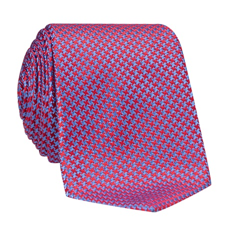 Silk Basketweave Tie in Ruby and Cobalt