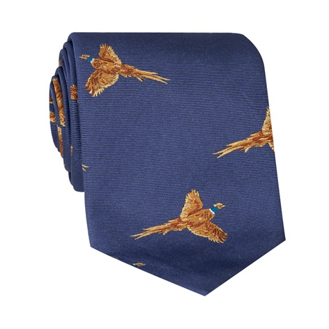Silk Woven Pheasant Tie in Royal Blue