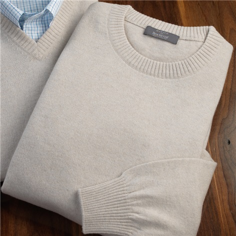 Cashmere Crewneck Sweater in Linen