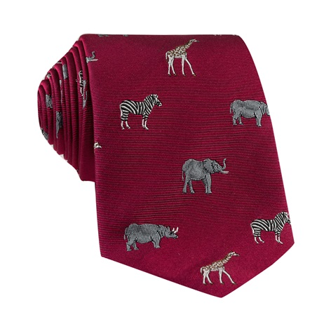 Jacquard Woven Animal Motif Tie in Raspberry