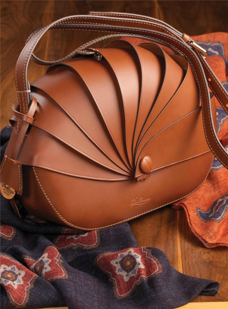 Leather Shell Handbag in Chestnut