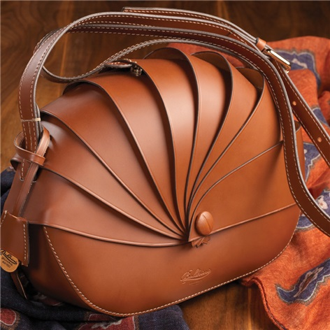 Leather Shell Handbag in Chestnut