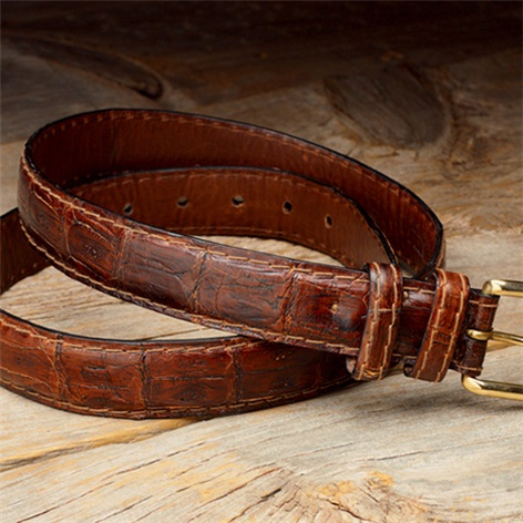 Matte Caiman Crocodile Belt