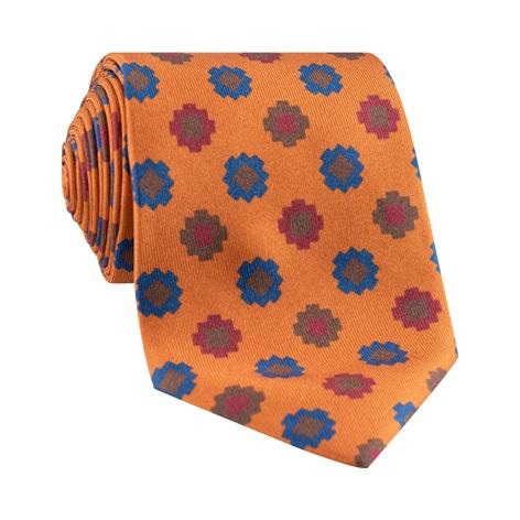 Silk Geometric Motif Tie in Copper