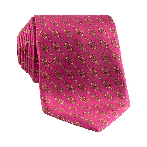 Silk Horse Bit Motif Tie in Rose