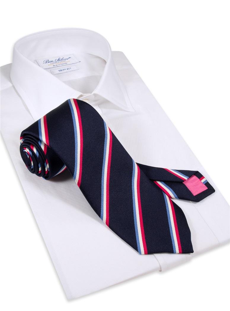 Silk Triple Stripe Tie in Navy