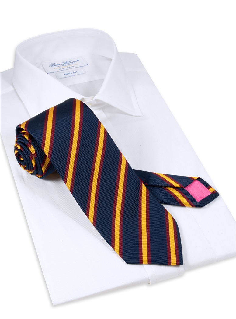 Mogador Striped Tie in Navy