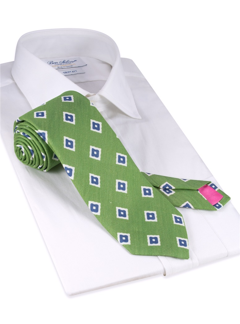 Silk and Linen Diamond Motif Tie in Fern
