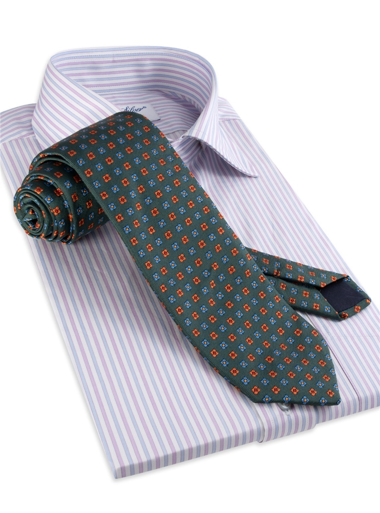 Silk Neat Print Woven Tie in Forest