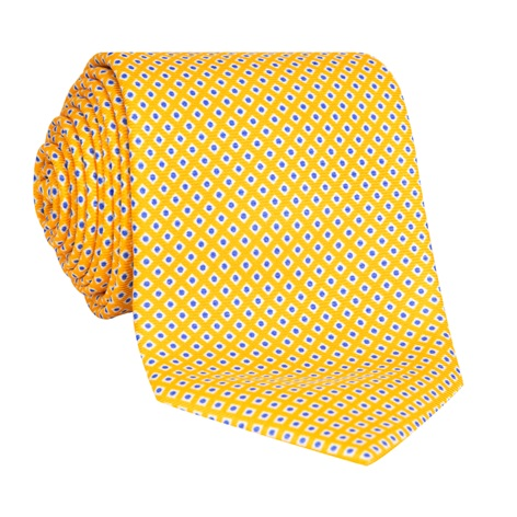 Silk Printed Dots Tie in Marigold