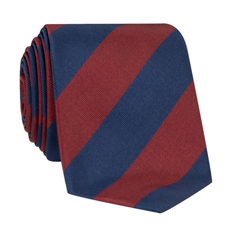 Mogador Block Striped Tie in Wine and Navy