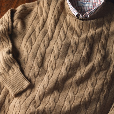 Camelhair Cable Knit Crewneck Sweater