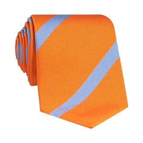 Silk Bar Striped Tie in Orange with Sky