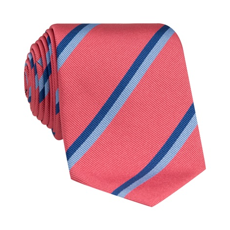 Silk Double Stripe Tie in Strawberry