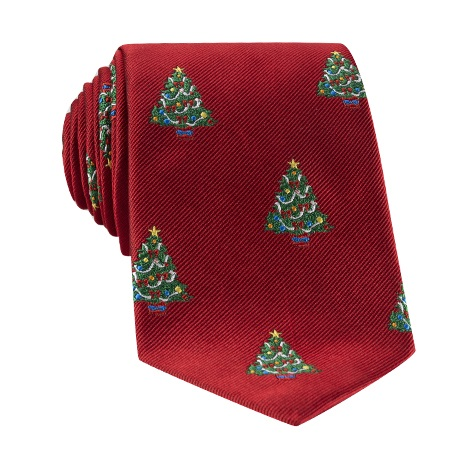 Silk Woven Christmas Tree in Holiday Red