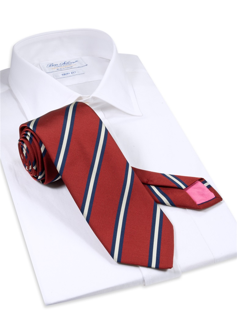 Silk Striped Tie in Brick