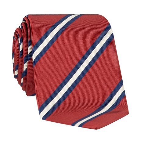 Silk Striped Tie in Brick