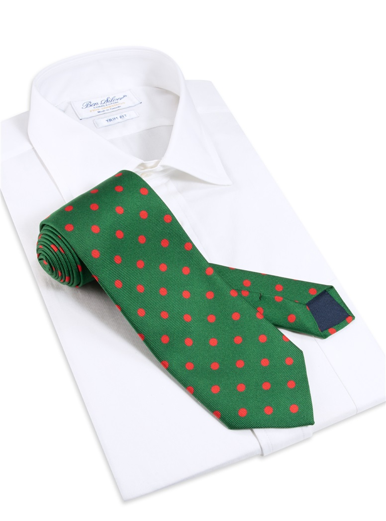 Silk Printed Dots Tie in Green